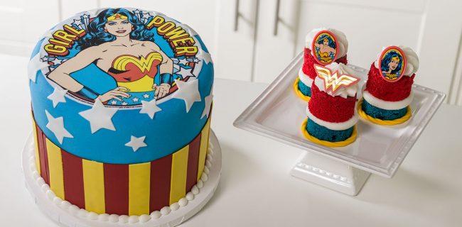 gambar kue ulang tahun motif kartun Wonderwoman