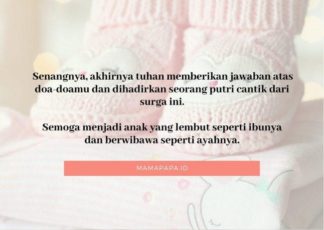 kartu ucapan kelahiran anak perempuan